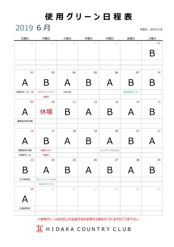 2019.6月使用グリーン日程表のサムネイル